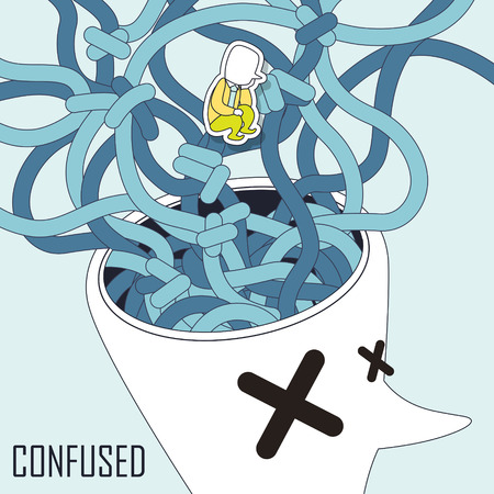 disorientated: confused concept: explosive brain in line style Illustration
