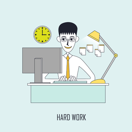 work stress: hard work concept: businessman keeps working on the computer in flat line style