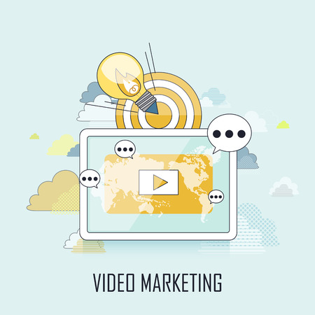 video marketing: video marketing concept: showing video on tablet in line style