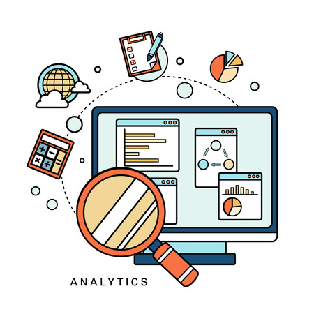 data analytic concept: magnifying glass with business chart in line style 矢量图像