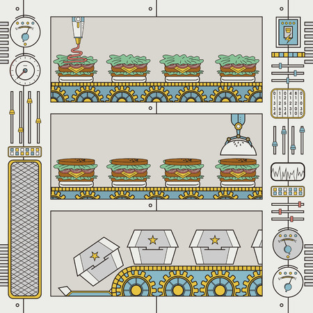 gripper: hamburger factory with conveyor and gripper in flat line style