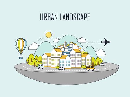 도시 풍경 : 선 스타일의 아름다운 마을 일러스트
