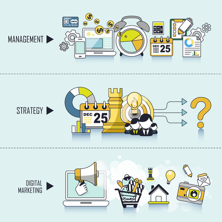 interface scheme: business concept: management-strategy-digital marketing in line style Illustration