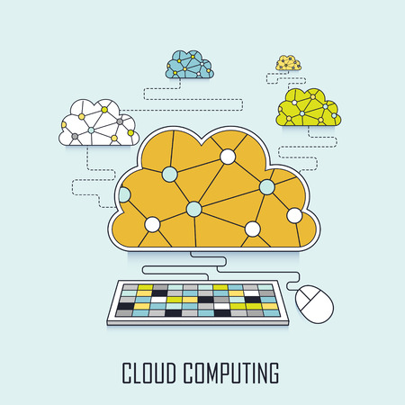 cloud computing concept: cloud connecting to keyboard in line style