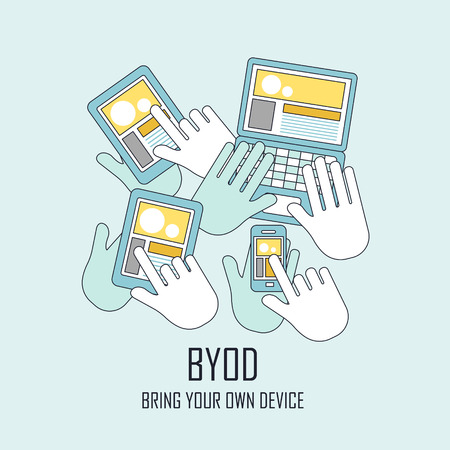 bring: BYOD bring your own device in flat thin line style