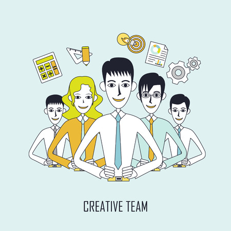 lined up: creative team concept: business team lined up in flat line style Illustration