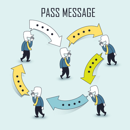 intercourse: communication idea: businessman passing messages in line style Illustration