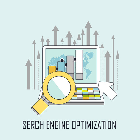 optimization: search engine optimization concept in line style