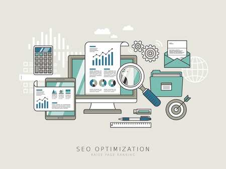 SEO optimization concept in thin line style Stock Illustratie