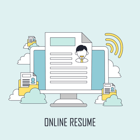 hiring: finding job concept: online resume in line style Illustration