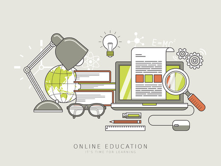 online education concept in thin line style Ilustrace