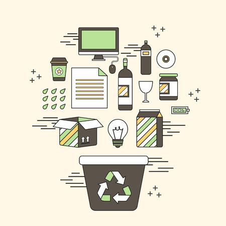 reduce reutiliza recicla: concepto de reciclaje: reciclar contenedores y objetos relacionados con el estilo de l�nea