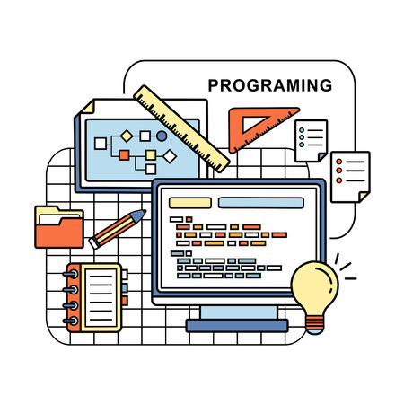 office stuff: programing concept: web page and laptop in line style