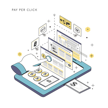 lap top: pay per click concept illustration in thin line style