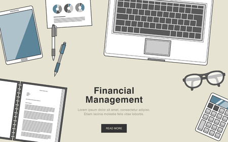 financial adviser: financial management concept in thin line style