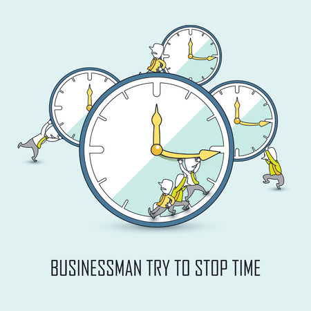 stop time: time management concept: businessmen trying to stop time in line style