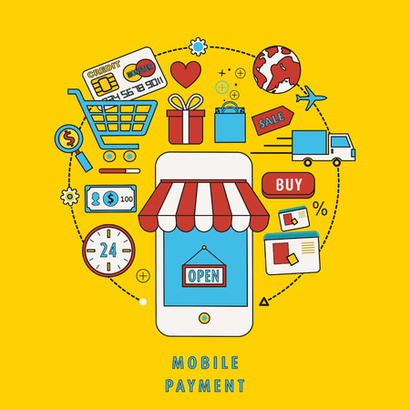 mobile payment concept with related elements in flat line design