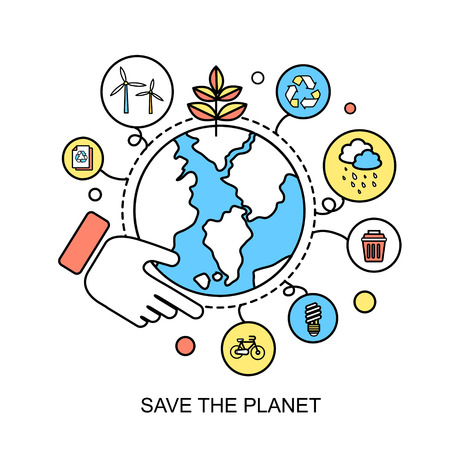 ecology concept: save the planet in flat line style