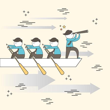 barco caricatura: concepto de trabajo en equipo: empresarios remar en un bote en el estilo de línea