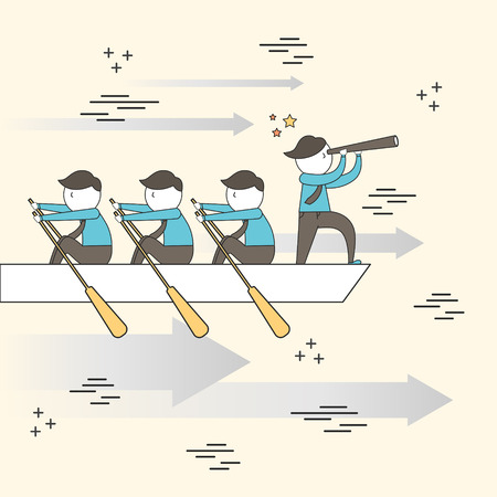 teamwork  together: teamwork concept: businessmen rowing a boat in line style Illustration