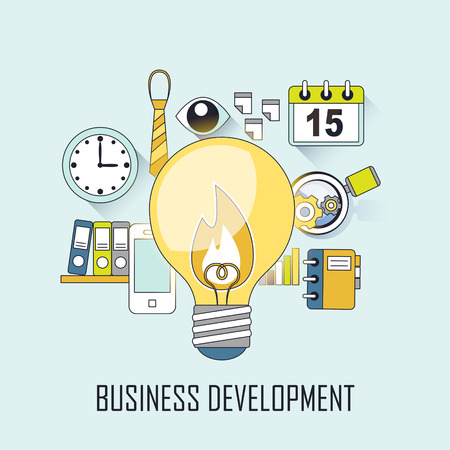 realization: business development concept: a big lighting bulb in line style