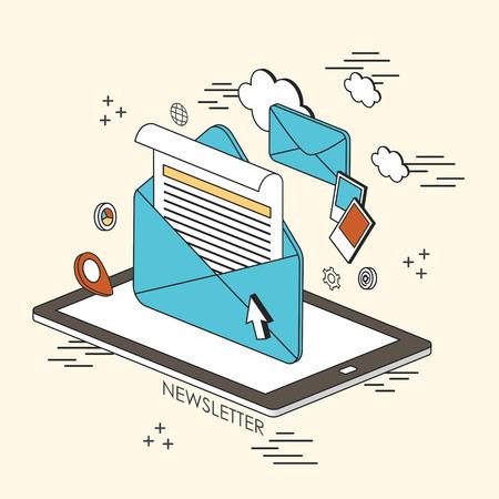 concepto de boletín informativo: correo electrónico e información que aparece desde la tableta en estilo de línea