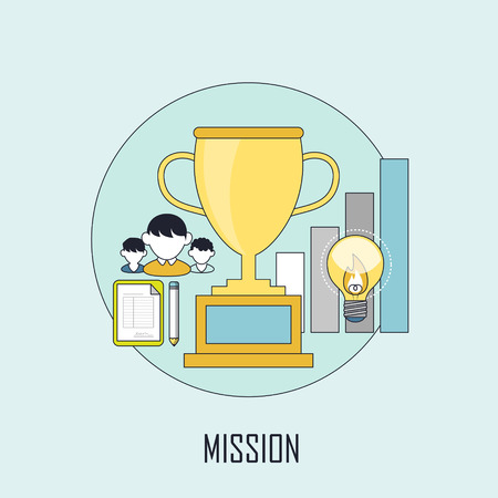 �mission: mission concept: golden premium in line style Illustration