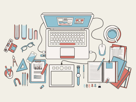 creative work: top view of working place in flat line design