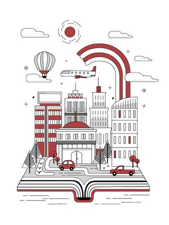 dream car: libro abierto con escena de la calle de la ciudad en el estilo de línea delgada Vectores