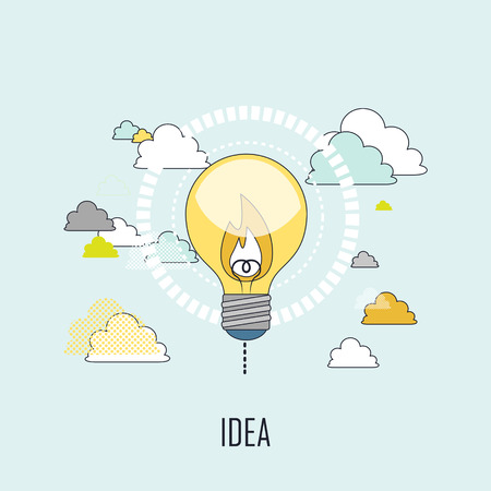 lighting bulb: creativity concept: a lighting bulb floating in the air in line style