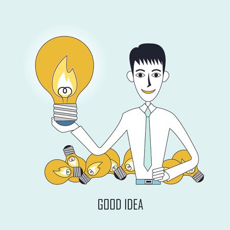 lighting bulb: good idea concept: businessman holding a big lighting bulb in flat line style