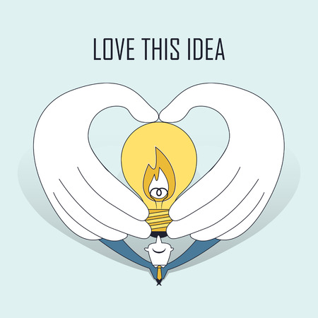 great idea: love this idea: hands holding a lighting bulb in line style Illustration