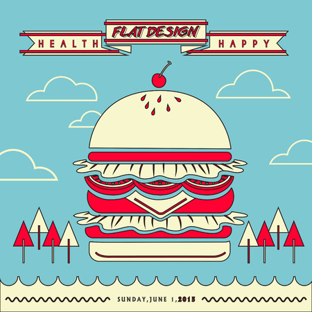 restaurant rapide: attrayant menu du restaurant de fast-food avec un �norme hamburger en conception de la ligne plat Illustration