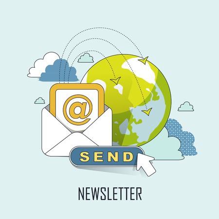 newsletter concept: ready to send an e-mail in line style Çizim