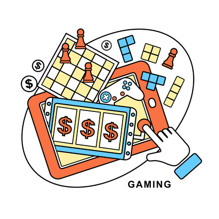 gaming: gaming concept: a hand touching slot machine in line style
