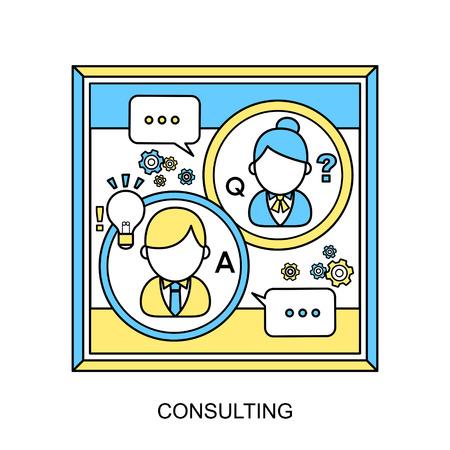 kunden service: Beratungskonzept: Kundendienst in flachen Linienstil