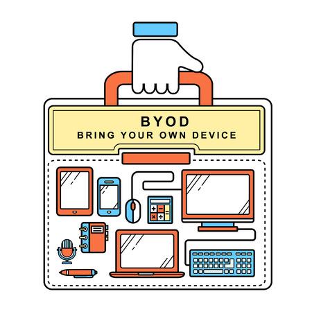 apporter: BYOD Bring Your Own Device dans le style de ligne