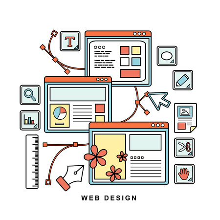 design tools: web design concept in flat thin line style