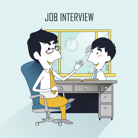 interviewer: job interview scene in thin line style
