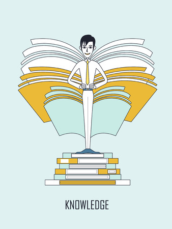 knowledge concept: knowledge concept: businessman standing on a pile of books in flat line style