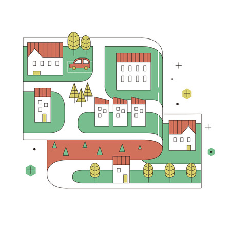 small town: street map of small town in thin line flat design