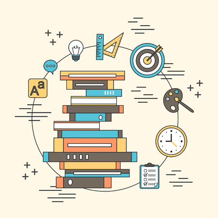 optimization: tutorial concept: a pile of books and education elements in line style