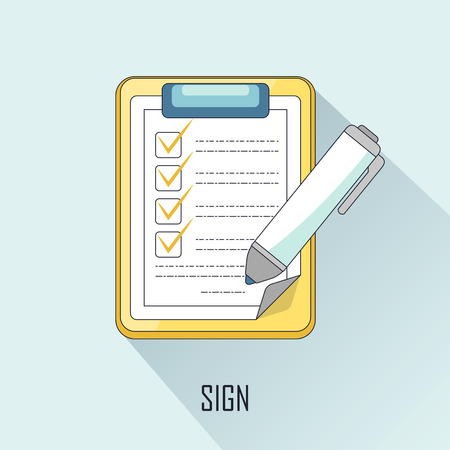 signing contract: business concept: signing contract in line style