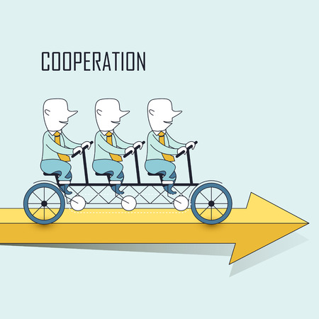 cooperation concept: businessmen riding a tandem bicycle in line style