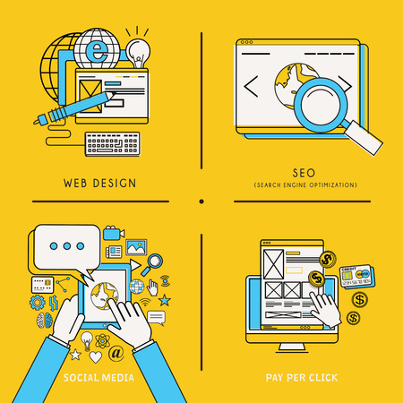 mobile service and web marketing concepts in line style