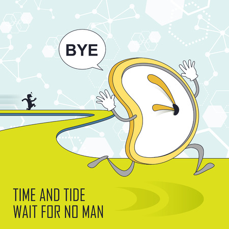 run away: time management concept: clock running away in line style