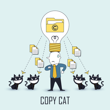 stop piracy: copycat concept: data be stolen by others in line style Illustration