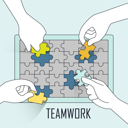 four hands: teamwork concept: four hands doing jigsaw puzzle together in line style