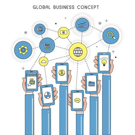 globális üzleti: global business concept with devices in thin line style Illusztráció
