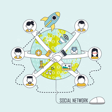 people connected: social network concept: people connected through social network all over the world in line style Illustration
